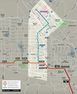 The planned Metro line run through Van Nuys, Panorama City, Arleta, Pacoima, the city of San Fernando, and Sylmar.  Image courtesy of Metro.