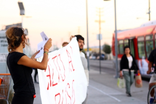 Group of informed citizens rallying on the the corner of Osborne Street and San Fernando Road Oct. 22, 2014 in solidarity with those affected by police brutality.