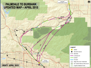 The most recent draft of the proposed routes (dark purple) in comparison to the previous routes (light purple).  The SR 14 segment that runs through Sun Valley, Pacoima, San Fernanando, and Sylmar has no changes.